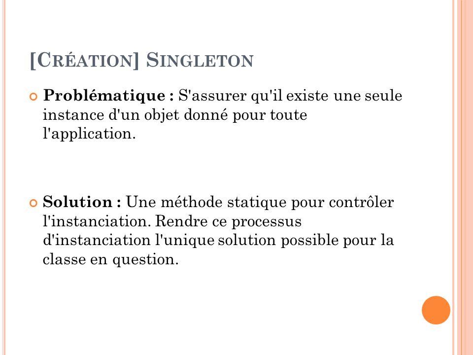 [Création] Singleton Problématique : S assurer qu il existe une seule instance d un objet donné pour toute l application.